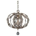 "Leila Collection 1-Light 12"" Burnished Silver Chandelier F2742/1BUS"