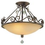 "Chateau Collection 2-Light 15"" Mocha Bronze Semi-Flush Mount with Crystal SF190MBZ"
