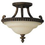 "Drawing Room Collection 2-Light 14"" Walnut Semi-Flush Mount with Amber Snow Scavo Glass SF238WAL"