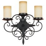 "King's Table Collection 3-Light 16"" Black Wall Sconce with Antique Cream Scavo Glass Shades Shade WB1312BK"