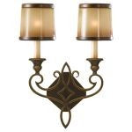 "Justine Collection 2-Light 13"" Astral Bronze Wall Sconce with Aged Oak Glass Shade WB1473ASTB"