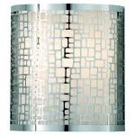 "Joplin Collection 1-Light 8"" Chrome Wall Sconce with Off White Linen Shade WB1564CH"