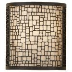 "Joplin Collection 1-Light 8"" Light Antique Bronze Wall Sconce with Beige Silk Shade WB1564LAB"
