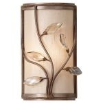 "Priscilla Collection 1-Light 6"" Arctic Silver Wall Sconce with Champagne Hardback w/ Fabric Shade WB1576ARS"