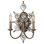 "Leila Collection 2-Light 16"" Burnished Silver Crystal Wall Sconce WB1579BUS"