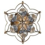 "Leila Collection 1-Light 9"" Burnished Silver Crystal Wall Sconce WB1585BUS"