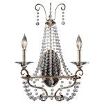 "Dutchess Collection 2-Light 15"" Burnished Silver Crystal Wall Sconce WB1587BUS"