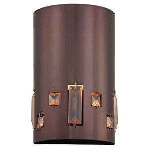 "Bling Bang Collection 1-Light 9"" Chocolate Chrome Wall Sconce with Teak Crystal Accents P1080-631"
