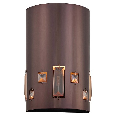 Chocolate Chrome 1 Light Ada Compliant Flush Mount Wall Sconce In Chocolate Chrome From The Bling Bang Collection