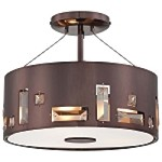 "Bling Bang Collection 3-Light 12"" Chocolate Chrome Semi-Flush Mount with Teak Crystal Accents P1091-631"
