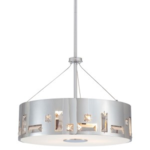 "Bling Bang Collection 4-Light 16"" Chrome Drum Pendant with Crystal Accents P1092-077"