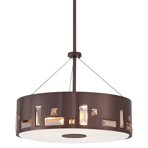 "Bling Bang Collection 4-Light 16"" Chocolate Chrome Drum Pendant with Teak Crystal Accents P1092-631"