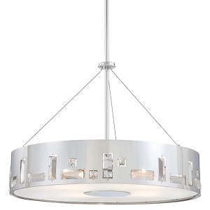 "Bling Bang Collection 5-Light 22"" Chrome Drum Pendant with Crystal Accents P1093-077"
