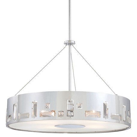 Chrome 5 Light Drum Pendant In Chrome from the Bling Bang Collection