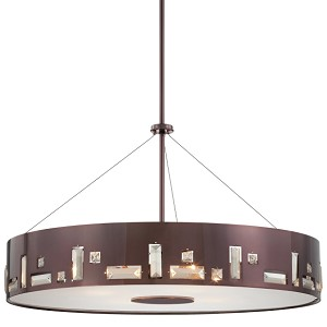 "Bling Bang Collection 6-Light 27"" Chocolate Chrome Drum Pendant with Teak Crystal Accents P1094-631"