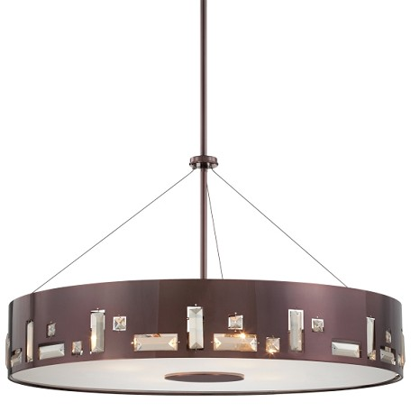 Chocolate Chrome 6 Light Drum Pendant In Chocolate Chrome From The Bling Bang Collection