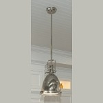 "Hi-Bay Collection 1-Light 23.5"" Polished Nickel Pendant and Frosted Glass 25104FTPN"