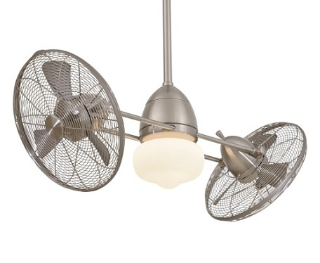 Brushed Nickel Indoor / Outdoor Twin Turbofan 42In. Sweep Ceiling Fan - Light And Wall Control Included