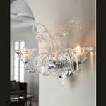 "La Scala 2-Light 19"" Clear Murano Style Glass Wall Sconce 5249-2-00"