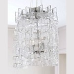 "Havilland Collection 4-Light 20"" Clear Murano Style Glass Pendant with Chrome Accents 04981"
