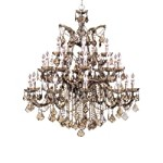 Crystorama Twenty Six Light Antique Brass Golden Teak Hand Polished Glass Up Chandelier - 4470-AB-GT-MWP