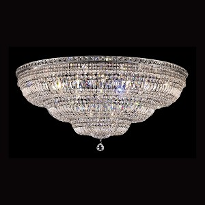 "Invisible Design 33-Light 48"" Chrome or Gold Ceiling Flush Mount with European or Swarovski Crystals SKU# 30782"