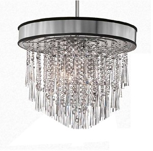 "Shaded Light Design 8-Light 22"" Chrome Crystal Hanging Pendant with Micro Shade SKU# 13058"
