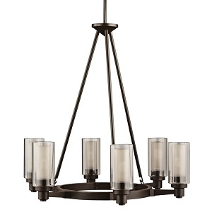 "Circolo Collection 6-Light 26"" Olde Bronze Chandelier with Umber Etched Glass 2344OZ"