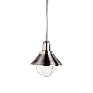 "Seaside Collection 1-Light 9"" Satin Nickel Outdoor Hanging Pendant 2621NI"