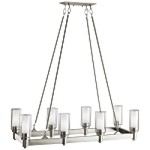 "Circolo Collection 8-Light 36"" Brushed Nickel Rectangular Chandelier with Satin Etched Glass 2943NI"