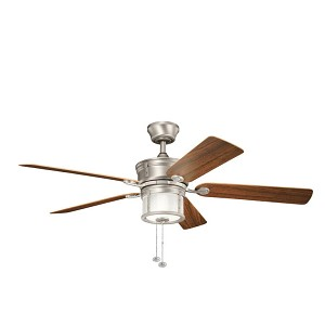 "Deckard Collection 52"" Brushed Nickel Outdoor Ceiling Fan with Light Kit 310105NI"