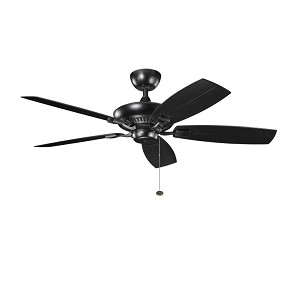 "Canfield Patio Collection 52"" Satin Black Outdoor Ceiling Fan 310192SBK"