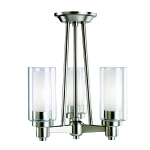 "Circolo Collection 3-Light 17"" Brushed Nickel Semi-Flush Mount with Satin Etched Glass 3743NI"