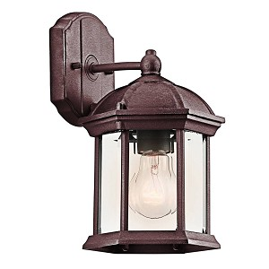 "Barrie Collection 1-Light 10"" Tannery Bronze Outdoor Wall Lantern with Clear Glass 49183TZ"