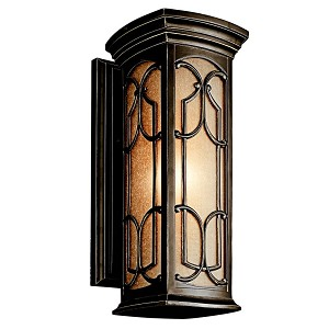 "Franceasi Collection 1-Light 18"" Olde Bronze Outdoor Wall Sconce with Light Umber Seedy Glass 49227OZ"