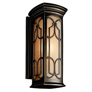 "Franceasi Collection 1-Light 22"" Olde Bronze Outdoor Wall Sconce with Light Umber Seedy Glass 49228OZ"