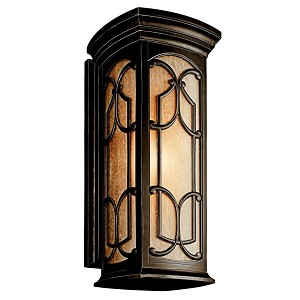 "Franceasi Collection 1-Light 25"" Olde Bronze Outdoor Wall Sconce with Light Umber Seedy Glass 49229OZ"