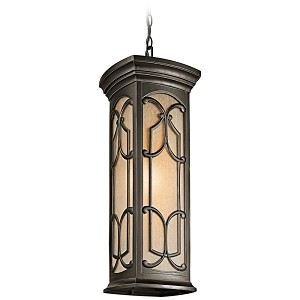 "Franceasi Collection 1-Light 20"" Olde Bronze Outdoor Hanging Pendant with Light Umber Seedy Glass 49231OZ"