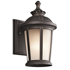 "Ralston Collection 1-Light 10"" Rubbed Bronze Outdoor Wall Lantern with Satin Etched White Glass 49409RZ"