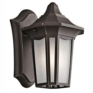 "Nob Hill Collection 1-Light 9"" Rubbed Bronze Outdoor Wall Lantern with Etched Seedy Glass 49415RZ"