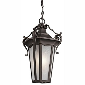"Nob Hill Collection 1-Light 19"" Rubbed Bronze Outdoor Hanging Lantern with Etched Seedy Glass 49419RZ"
