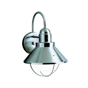 "Seaside Collection 1-Light 14"" Brushed Nickel Outdoor Wall Sconce 9023NI"