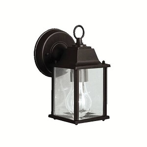 "Barrie Collection 1-Light 8"" Black Outdoor Wall Lantern with Clear Glass 9794BK"