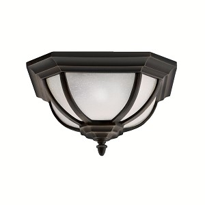 "Ralston Collection 2-Light 13"" Rubbed Bronze Outdoor Flush Mount with White Linen Glass 9848RZ"