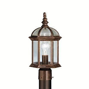 "Barrie Collection 1-Light 16"" Tannery Bronze Outdoor Post Lantern with Clear Glass 9935TZ"