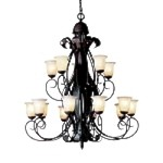 "High Country Collection 15-Light 54"" Hand-Hammered Olde Iron Foyer Chandelier with Alabaster Glass 2111OI"