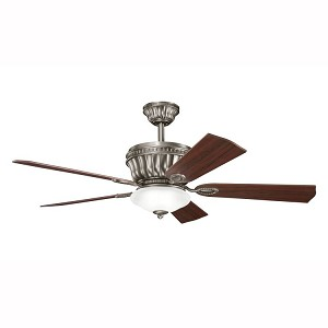 "Dorset Collection 52"" Antique Pewter Ceiling Fan with Cherry Blades 300152AP"