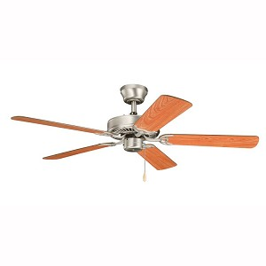 "Sterling Manor Collection 52"" Brushed Nickel Ceiling Fan with Walnut Blades 339010NI7"