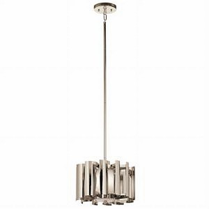 "Ziva Collection 12"" 1-Light Polished Nickel Pendant 42834PN"