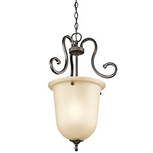 "Feville Collection 16"" 1-Light Olde Bronze Chandelier 43180OZ"